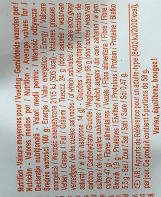 Barres caramel biscuit - Ingredients - fr