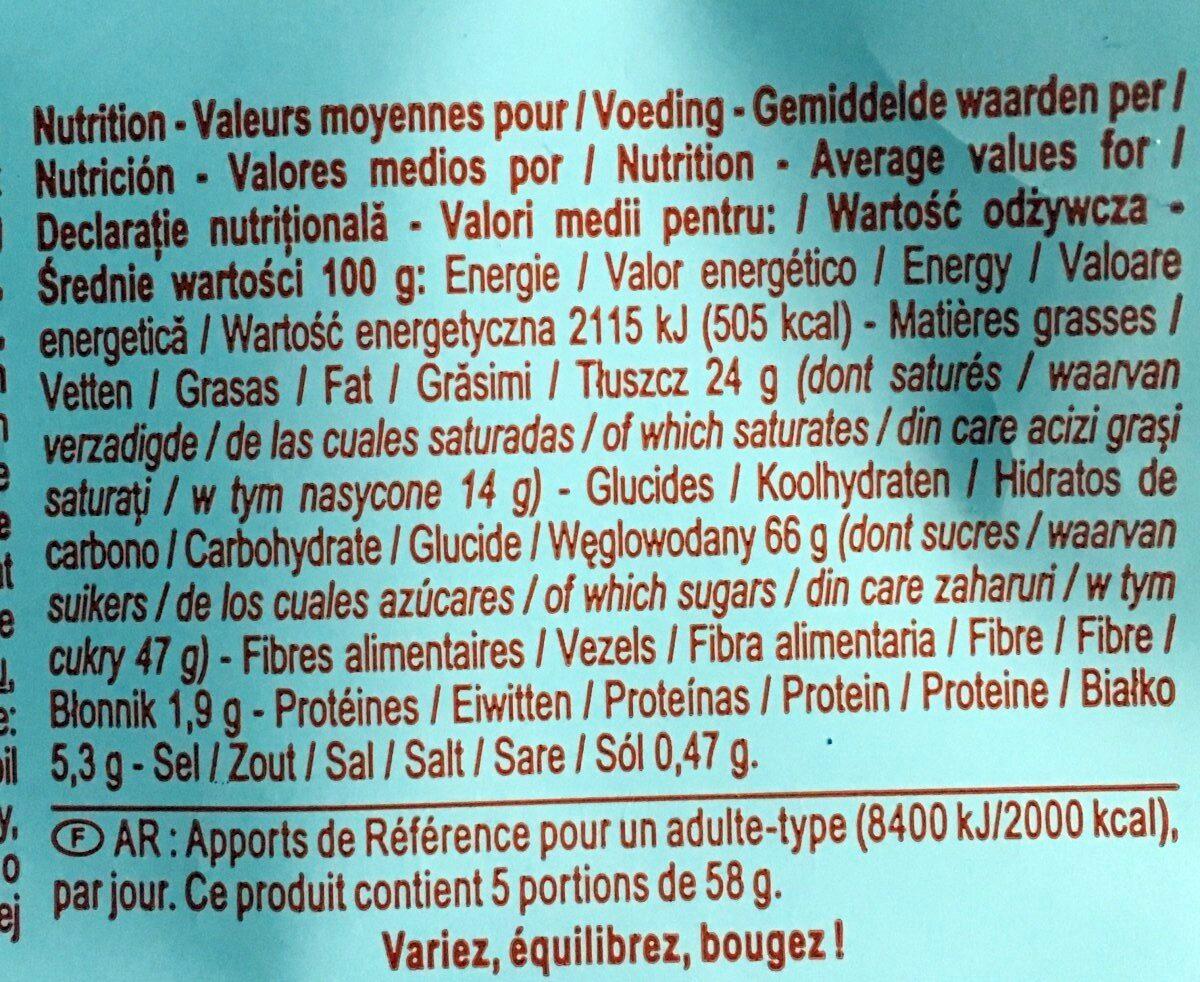 Barres caramel biscuit - Informació nutricional - fr