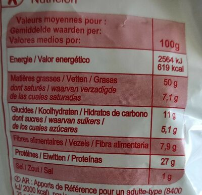 Cacahuètes grillés et salées - Informations nutritionnelles - fr