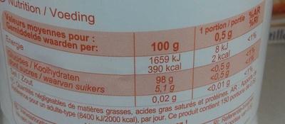 Édulcorant en poudre - Informations nutritionnelles - fr