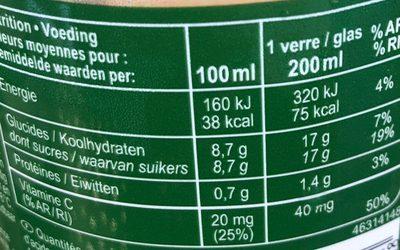 100% Pur jus orange Avec pulpe - Voedingswaarden - fr