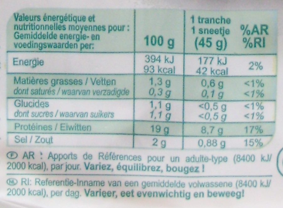Blanc de poulet Qualité Standard (4 Tranches) - Informations nutritionnelles - fr