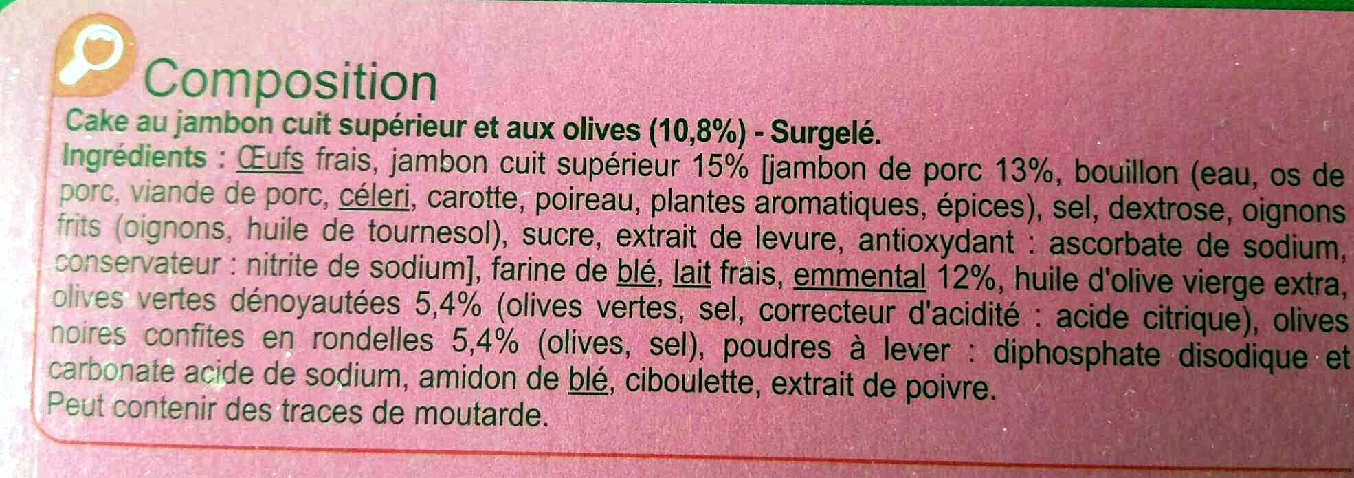 Cake Jambon, Emmental, Olives vertes et noires - Ingrédients