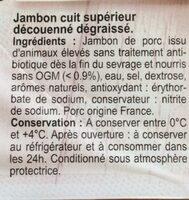 Jambon Supérieur sans Couenne sans antibiotiques - Ingrédients