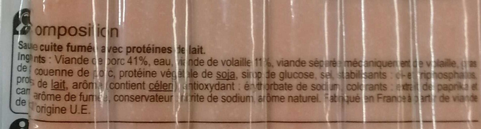 Saucisse cuite fumée x10 - Ingrédients - fr