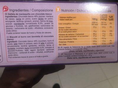 Galletas de mantequilla  tableta chocolate blanco - Ingrédients - fr