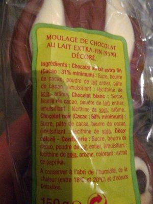 Chocolats lapin chocolat lait Esprit de Fête - Ingredienti - fr