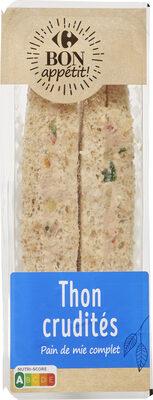 Bon app' Sandwich Thon crudités Pain de mie complet - Produit - fr