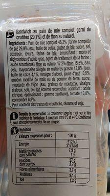 Bon app' Sandwich Thon crudités Pain de mie complet - Ingredients - fr