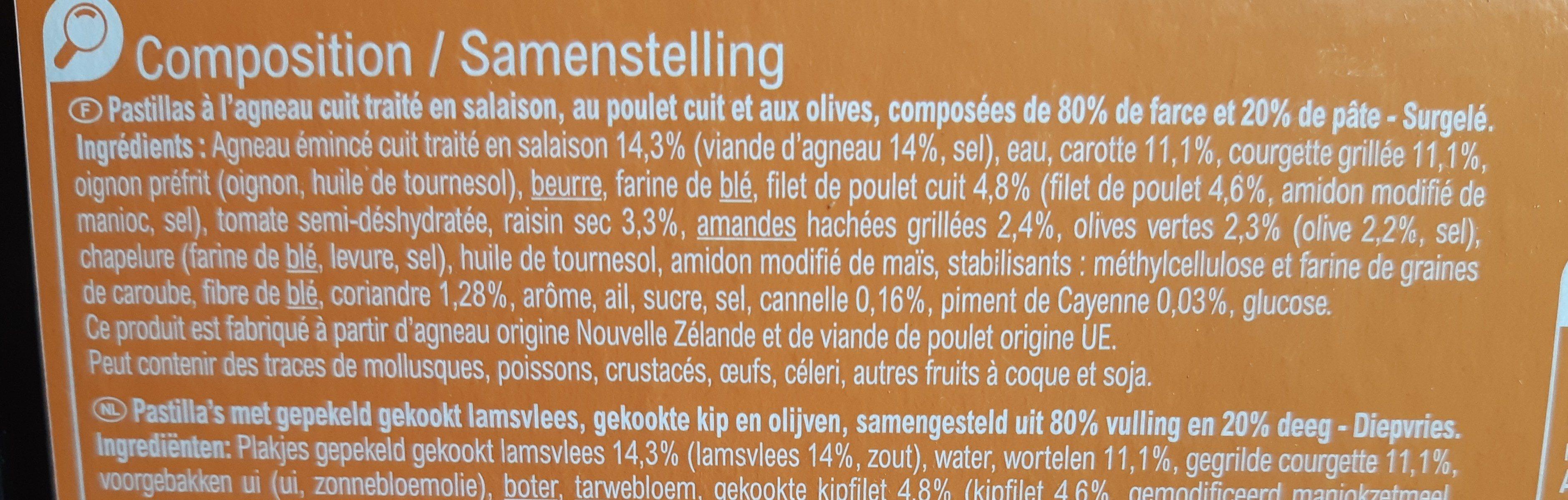 2 Pastillas à l'Agneau, Poulet et Olives - Ingrédients - fr