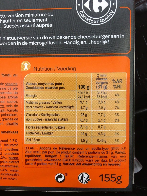 10 mini cheeseburgers - Valori nutrizionali - fr