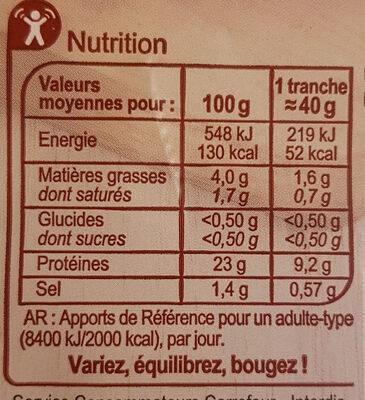 Rôti de porc -25% de sel - Informations nutritionnelles - fr