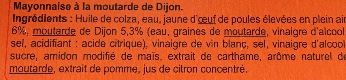 Mayonnaise à la moutarde de Dijon - Ingrédients - fr