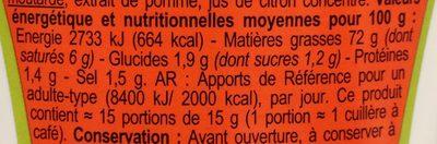 Mayonnaise à la moutarde de Dijon - Informations nutritionnelles