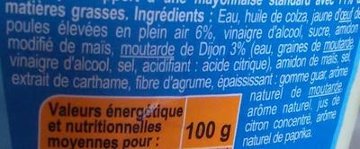 Mayonnaise à la moutarde de dijon allégé en matière grasse - Ingredients