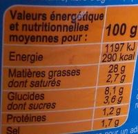 Mayonnaise à la moutarde de dijon allégé en matière grasse - Nutrition facts