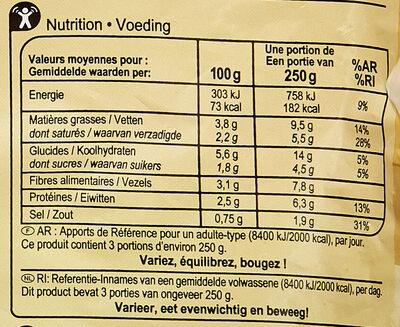 Purée 4 légumes verts - Nutrition facts