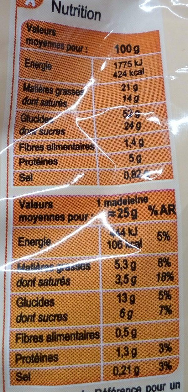Ma Madeleine au beurre d'Isigny - Nutrition facts - fr