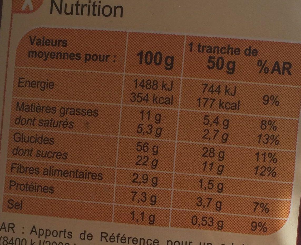 Brioche tressée  aux perles de sucre - Nutrition facts