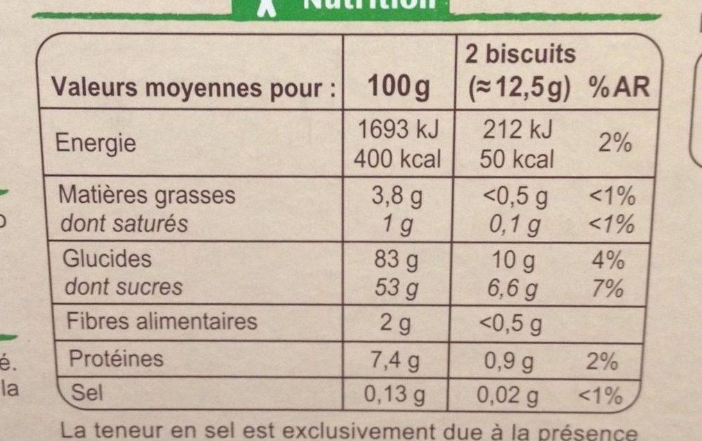 Boudoirs aux Œufs Frais - Informació nutricional - fr