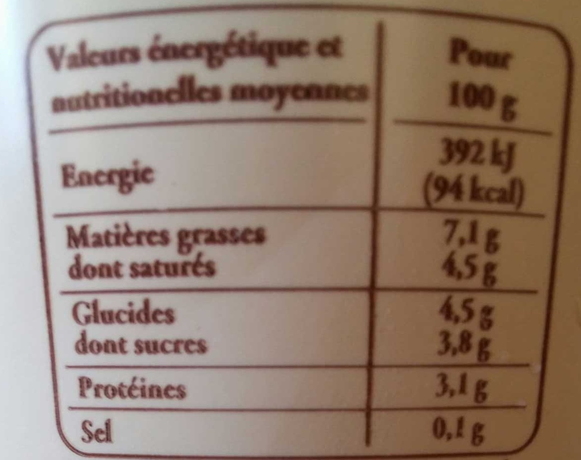 Faisselle de Bresse moulée à la main - Informations nutritionnelles - fr