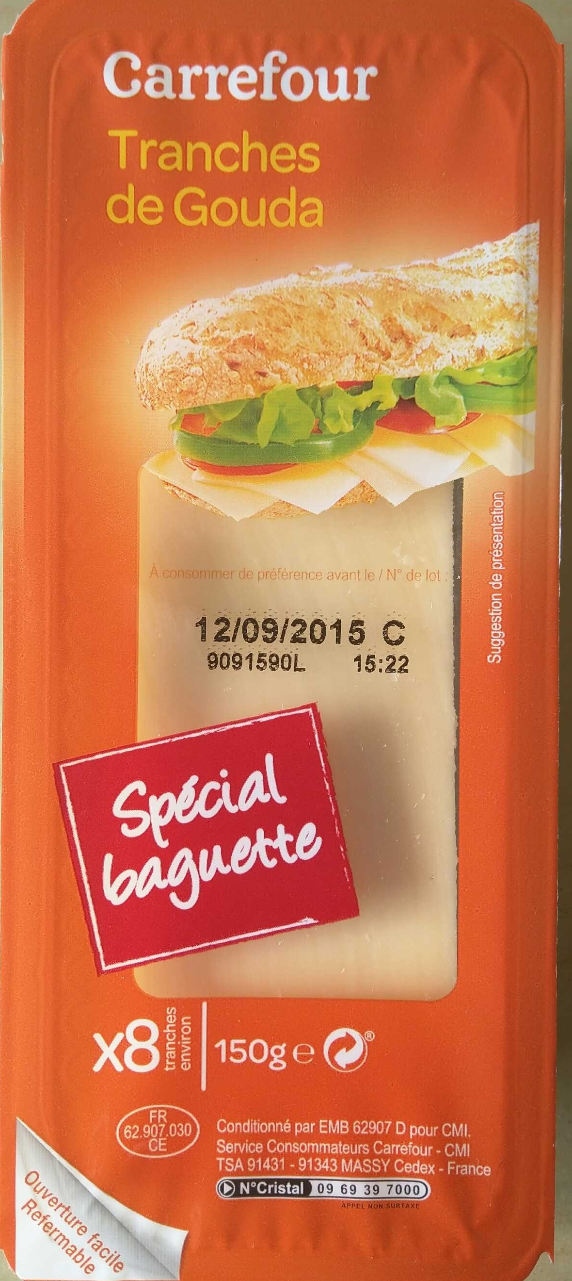 Tranches de gouda sp cial baguette 30 mg carrefour for Fromage en special