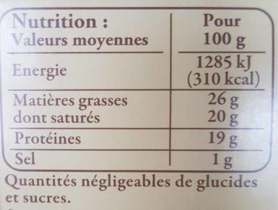 Brique du Forez - Nutrition facts