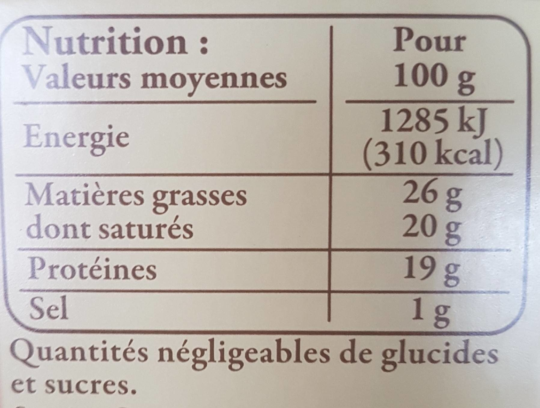 Brique du Forez - Voedingswaarden