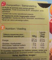 Sans sucres ajoutés* *Contient des sucres naturellement présents - Información nutricional - fr