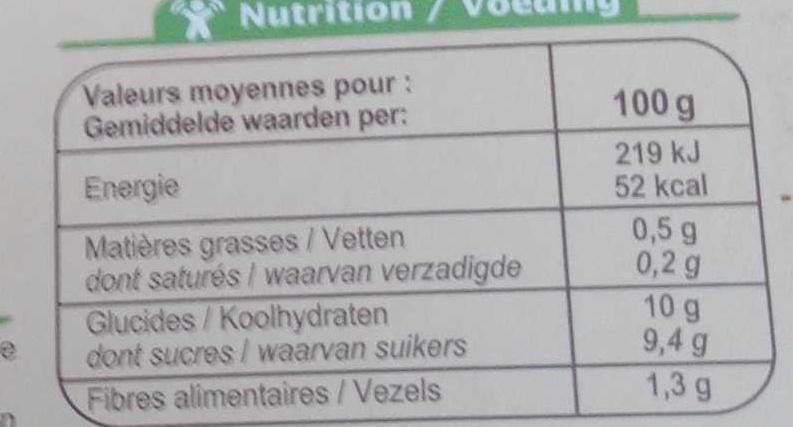 Purée pommes fraises - Informations nutritionnelles - fr