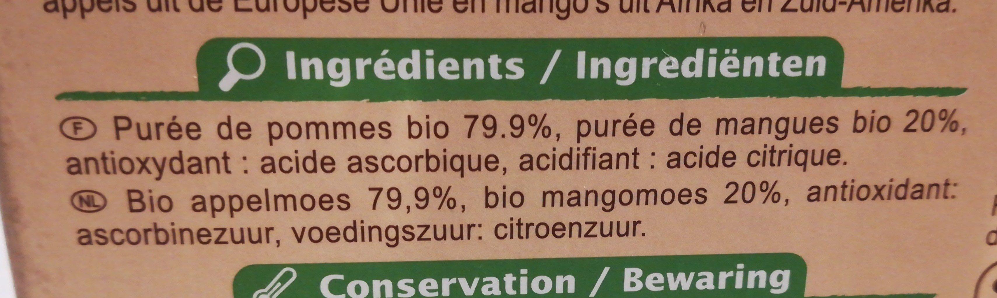 Purée Pommes Mangues Sans sucres ajoutés* *Contient des sucres naturellement présents. - Ingredients - fr