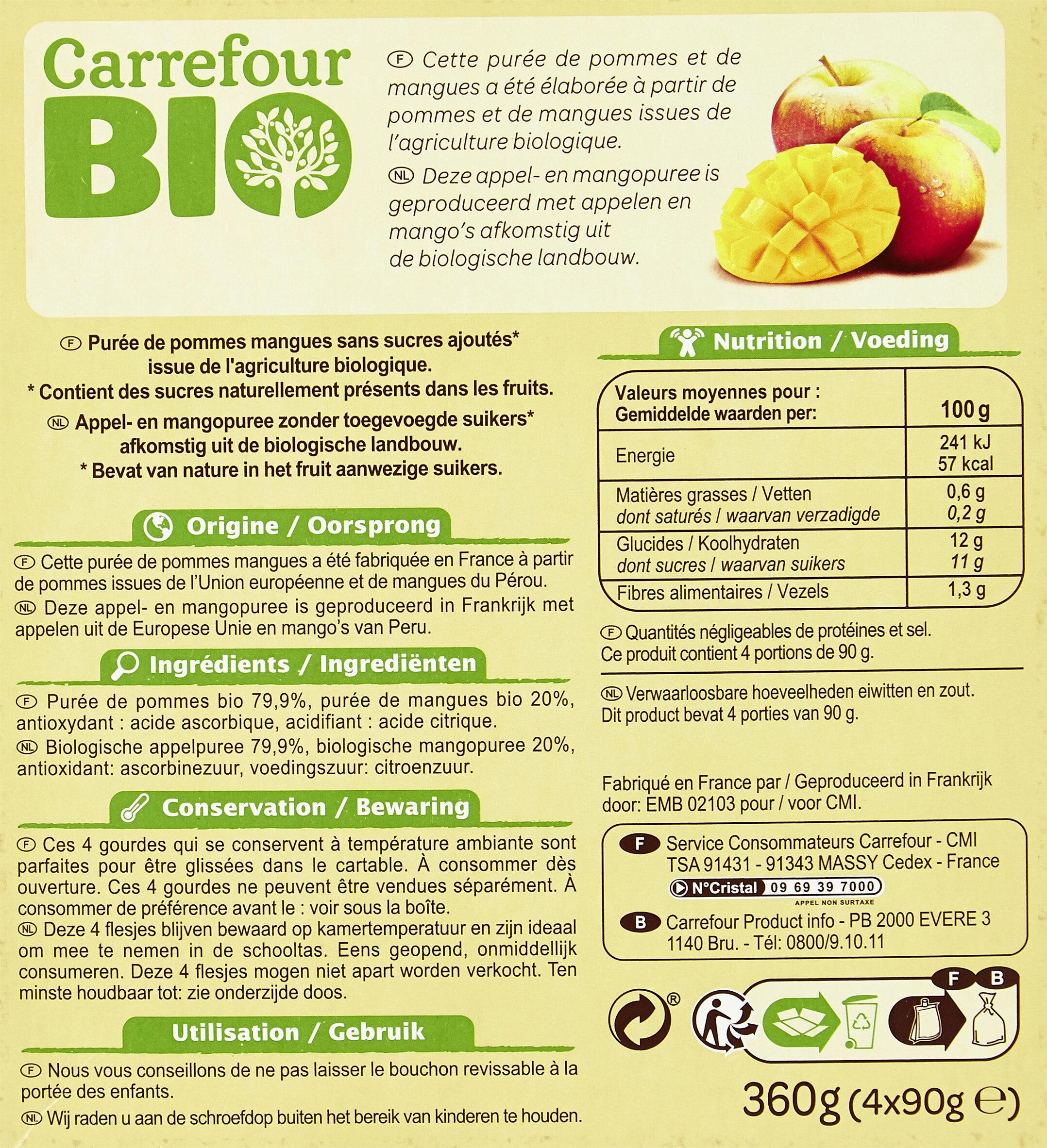 Purée Pommes Mangues Sans sucres ajoutés* *Contient des sucres naturellement présents. - Recycling instructions and/or packaging information - fr