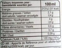 Boisson au soja - Informazioni nutrizionali - fr