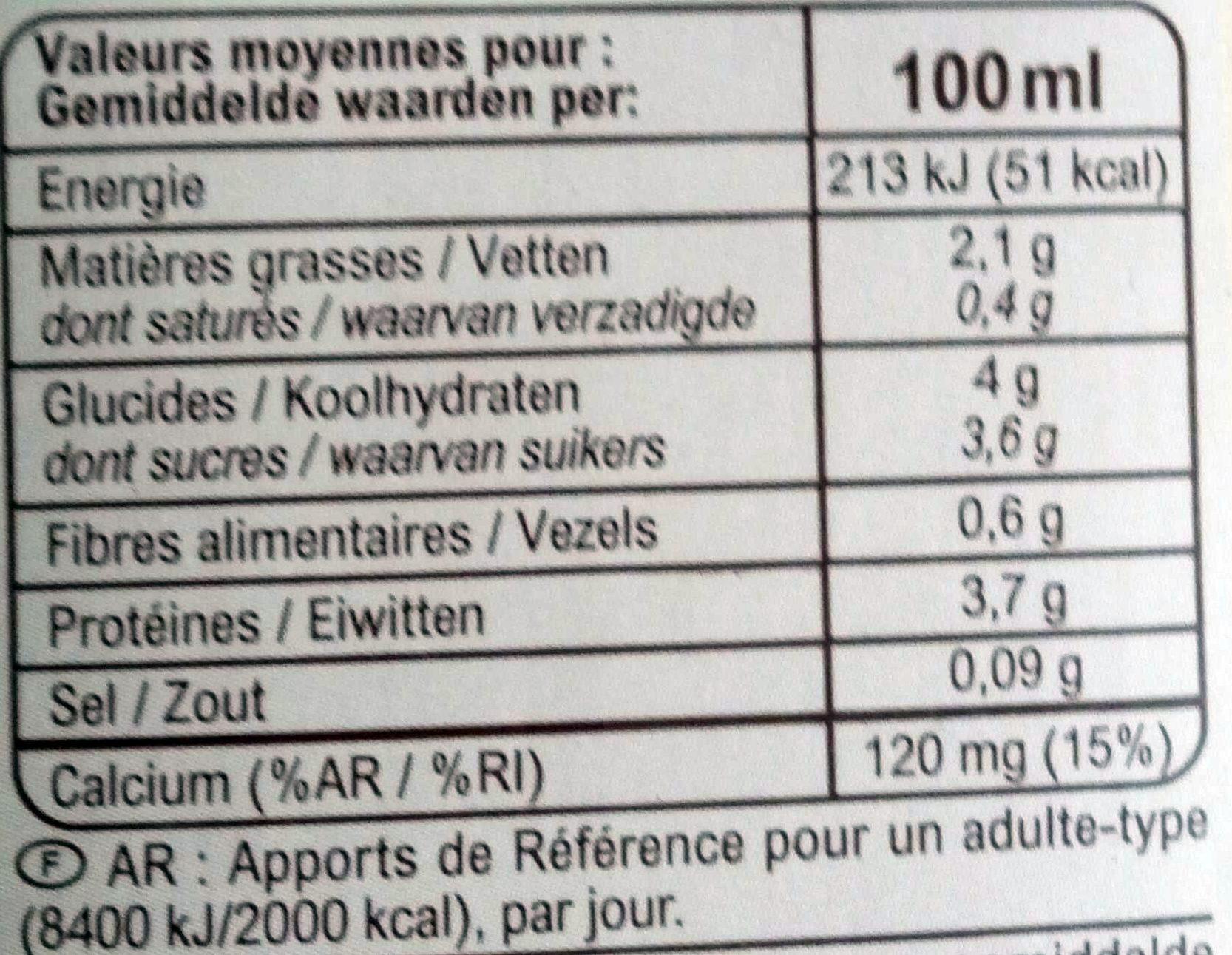 Boisson au soja - Nutrition facts - fr