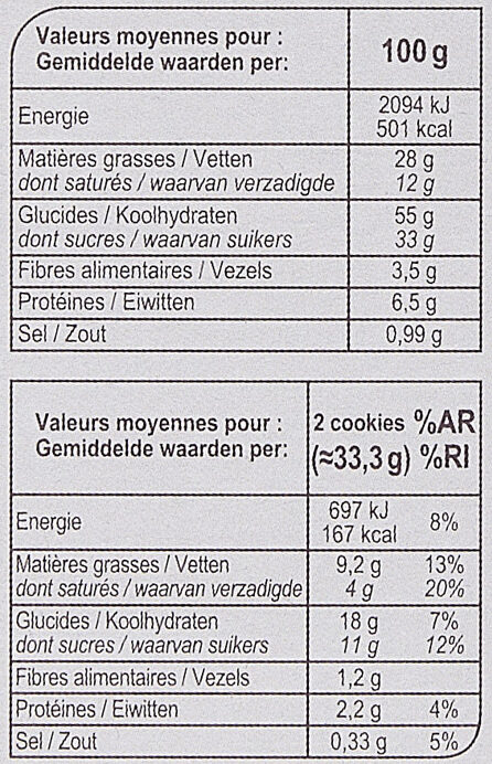 Cookies choco noisettes - Nutrition facts - fr