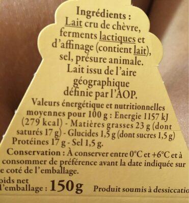 Fromage De Chèvre Au Lait Cru - Voedingswaarden - fr
