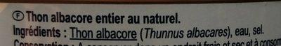 Thon albacore au naturel entier - Ingredienti - fr