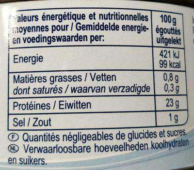 Thon albacore au naturel entier - Valori nutrizionali - fr