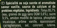 Postre de soja a la vainilla - Ingredients