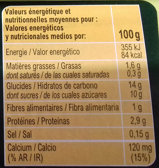Postre de soja a la vainilla - Nutrition facts