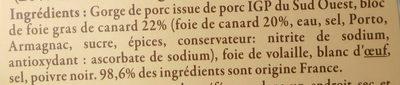 Pâté au foie de canard, recette landaise, 20% de foie gras - Ingrédients - fr