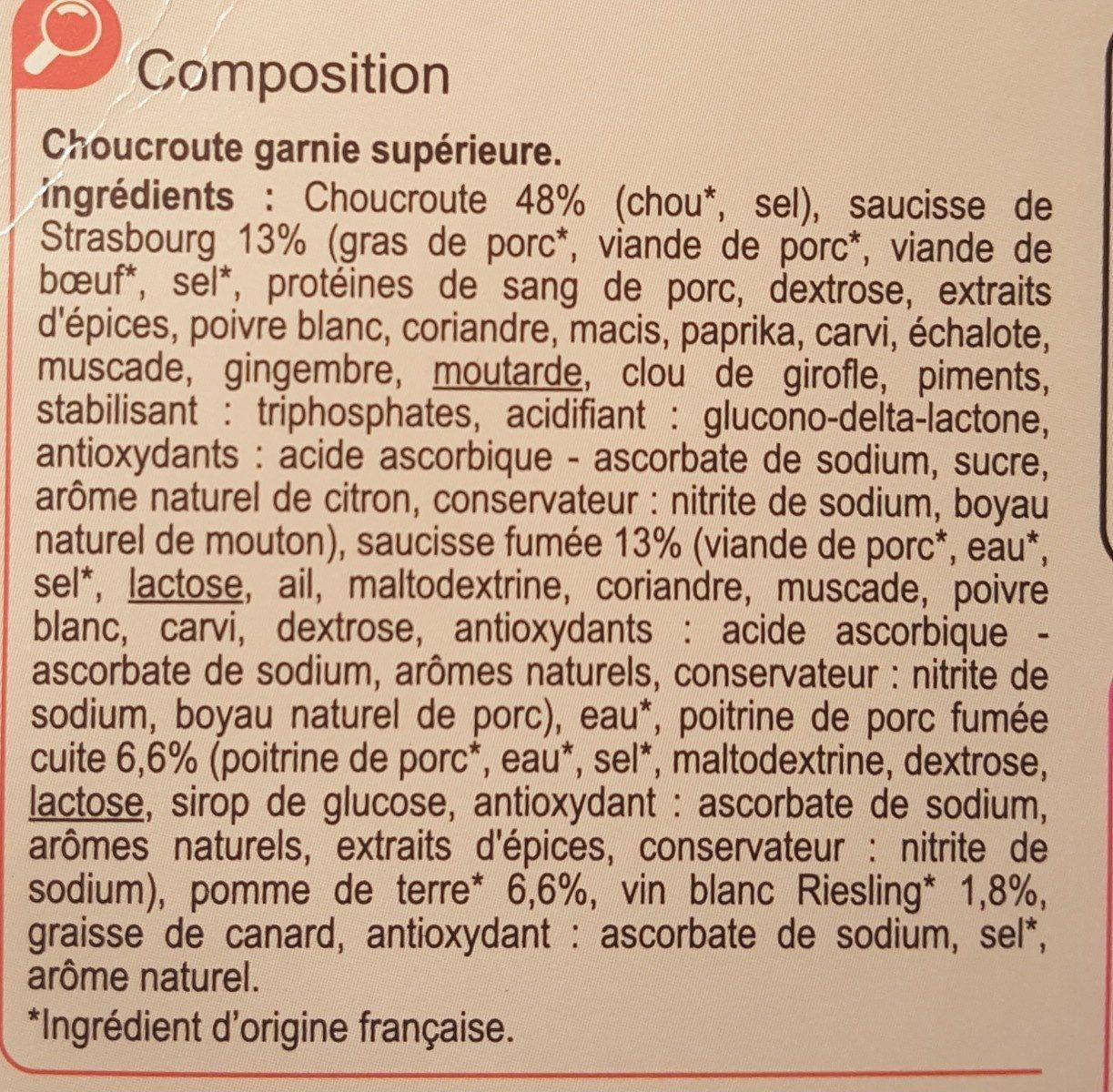 Choucroute garnie Royale - Ingrédients - fr