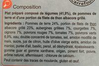 Thon Grillé Légumes En Ratatouille Et Pommes De Terre - Inhaltsstoffe