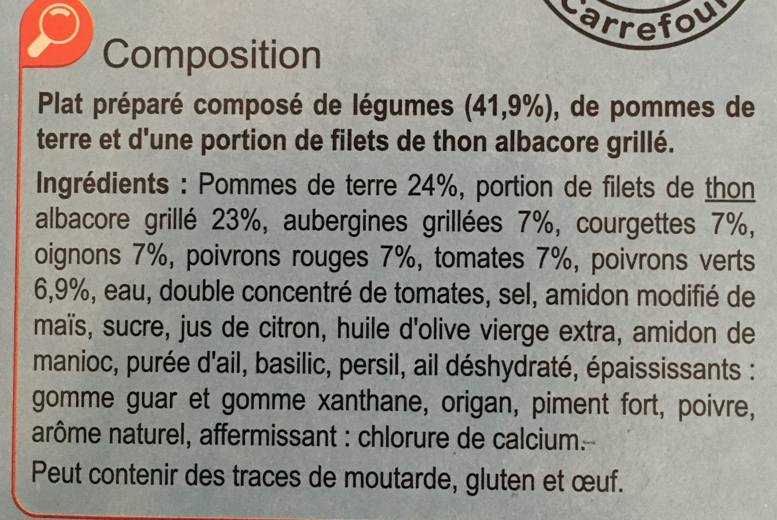 Thon Grillé Légumes En Ratatouille Et Pommes De Terre - Ingrédients - fr
