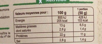Émincés Saumon Fumé - Voedingswaarden - fr
