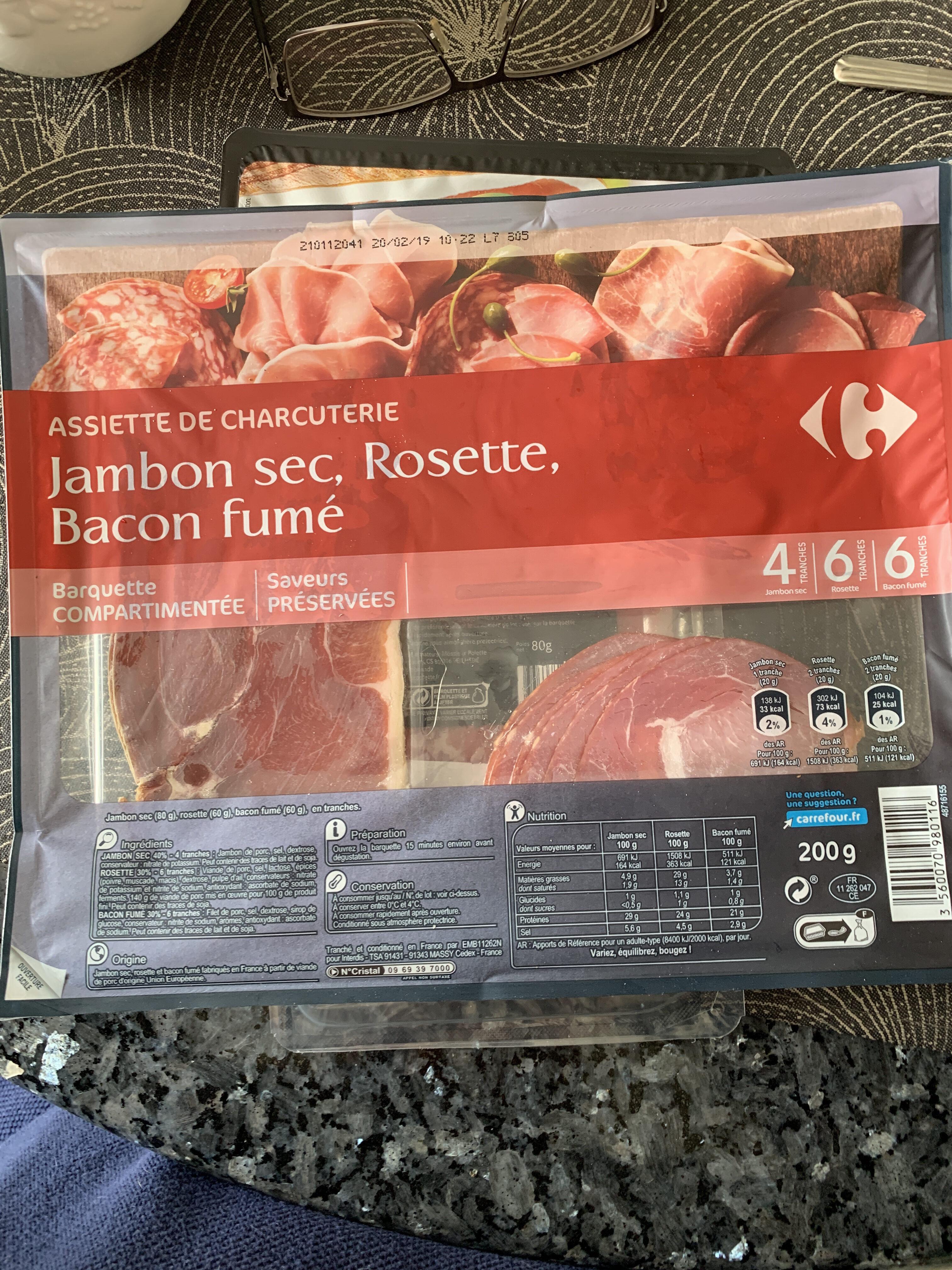 Assiette de charcuterie Jambon sec, Rosette, Bacon fumé - Product - fr