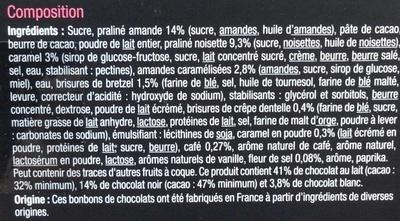 Assortiment de chocolats lait, noir, blanc - Ingredients