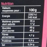 Assortiment de chocolats lait, noir, blanc - Nutrition facts