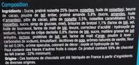Assortiment de chocolats au lait - Ingredients