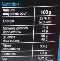 Assortiment de chocolats au lait - Nutrition facts - fr